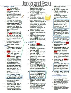Jacob and Esau scripture marking guide (she thinks every teen needs to know this story) Bible Study Notebook, Bible Study Tools, Scripture Study, Scripture Journal, Red Headed Hostess, Lds Scriptures, Lds Church, Study Ideas, Study Tips