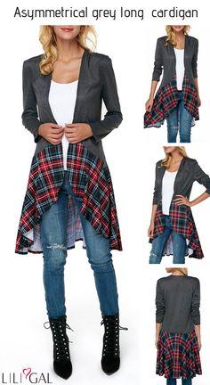 Long Sleeve Asymmetric Hem Dark Grey Ca… Diy Fashion, Ideias Fashion, Autumn Fashion, Womens Fashion, Diy Vetement, Altered Couture, Clothing Hacks, Upcycled Clothing, Mode Hijab