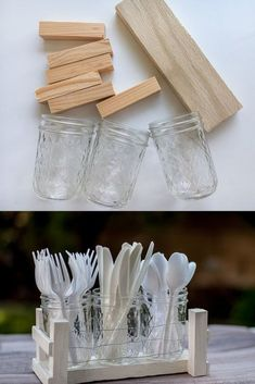 We can never have enough organizers! Especially something that uses mason jars! I came up with a fun mason jar idea that not only uses mason jars but also scrap wood! And the best part - it can be made to hole as many jars as you like and used in so many ways to organize so many things! #di y#organized summer #diyorganize