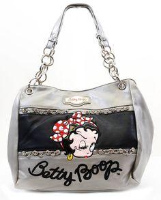 Betty Boop Metallic Grey Retro Faux Leather Rhinestone & Chain Fashion Handbag Purse
