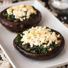 These easy stuffed portobello mushrooms with spinach, feta and sautéed garlic are marinated in balsamic vinegar and make an absolutely perfect veggie side dish, or even first course! Baked Portabella Mushrooms, Spinach Stuffed Mushrooms, Mushroom Appetizers, Fruit Appetizers, Portobello Mushroom Recipes, Spinach Recipes, Vegetable Recipes, Salad Recipes, Spinach And Feta