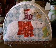 Polar Bear Needlepoint Snowdome by Kirk & Bradley (stitched by Vicky DeAngelis)