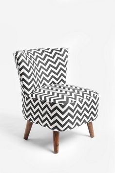 chevron chair - LOVE! We got some brown, grey, and black chevron material 50% off tonight ($20 for 5 yards)... Let's see if we can upholster our chair like this!