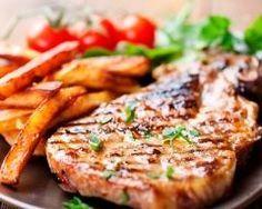 Frugal Meals: One Pork Pack 2 Family Meals - Pork Steak & Fries Grilled Bbq Pork Chops, Pork Ribs, Pork Steaks, Pulled Pork, Grilling Recipes, Pork Recipes, Cooking Recipes, Meal Recipes, George Foreman Grill