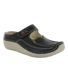 Look what I found on #zulily! Black Leather Char Clog #zulilyfinds