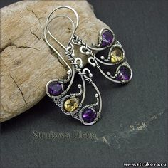 Artisan made sterling silver earrings with amethyst and citrine by Strukova Elena