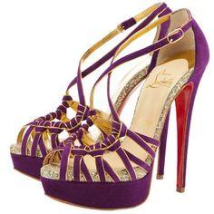 Christian Louboutin purple suede 8 Mignons platform sandals