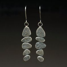Pebble Dangle earrings Sterling Silver 925 by hammeredbywendy, $120.00