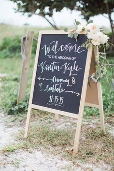 The serenity of this Florida wedding can be felt through the stunning images captured by Hunter Ryan Photo. The serenity of this Florida wedding can be felt through the stunning images captured by Hunter Ryan Photo. Wedding Reception Signs, Wedding Ceremony Decorations, Wedding Signage, Dusty Rose Wedding, Mod Wedding, Dream Wedding, Seaside Wedding, Outdoor Wedding Inspiration, Wedding Ideas