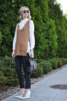fall / winter - fall outfits - street style - street chic style - casual outfits - office wear - work outfits - business casual - camel knit vest + white shirt + plaid ankle pants + white wedges + black sunglasses + black shoulder bag