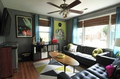 Cool colorful room with patterns and bright colors // Melissa's Quirky Surprises via Apartment Therapy
