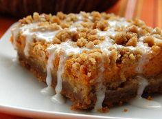 Gingerbread Pumpkin Bars!  Not on my diet, but surely will try these next Fall