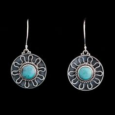 Sterling Silver Turquoise Earrings handcrafted by Bluemoonstone Creations.