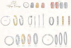Various style and size sterling silver cubic zirconia hoop earrings Platinum Earrings, Fancy Earrings, Sapphire Earrings, Screw Back Earrings, Wire Earrings, Chandelier Earrings, Gemstone Earrings, Earrings Handmade, Drop Earrings