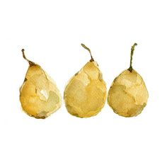 Yellow Pears art Print of  original  watercolor painting of 3  pears still life, botanical,  golden yellow, kitchen decor. $21.00, via Etsy.