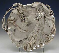 WMF Card Tray with Maiden - Art Nouveau
