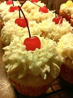 With a chocolate cupcake - cherry filling- delicious whipped cream, chocolate shavings and a yummy cherry on top? Yummy Cupcakes, Cupcake Cookies, Cherry Cupcakes, Coconut Cupcakes, Art Cupcakes, Cupcakes Kids, Sundae Cupcakes, Coconut Icing, Pretty Cupcakes