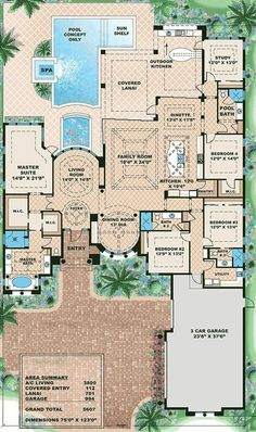 Mediterranean Home With Circular Dining Room - 66321WE | Architectural Designs - House Plans