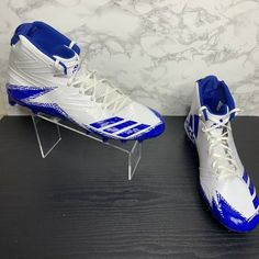 This is a pair of NWOB Adidas Freak x Carbon blue and white mens size 16 football cleats. Adidas Cleats, Football Cleats, Size 16, Blue And White, Pairs, Men, Shoes, Fashion, Soccer Cleats