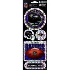 "Baltimore Ravens Prismatic Stickers by WinCraft. $2.00. Holographic. Includes 5 stickers. Prismatic. This sheet of die cut stickers is printed on a cracked ice holographic prismatic background. The sheet includes 5 stickers of various sizes, and the size of the sheet is 4"" x 12"".. Save 50%!"