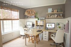 Mike Johnson's Workplace | Mac Desks - His and hers!