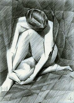 The birth of new cubism - 27-07-14 (for sale). Graphite pencil drawing on paper (14,8 x 21 cm - A5 format). See more: www.corneakkers.com #arts #kunst #Corné #Corne #Akkers