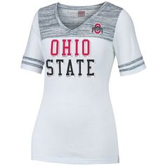 Women's Ohio State Buckeyes MVP Tee ($28) ❤ liked on Polyvore featuring tops, t-shirts, white, white top, short sleeve tee, white t shirt, white short sleeve top and white v neck t shirt