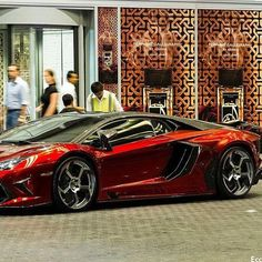 Luscious Red, hot chrome Aventador #Lambo