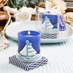 Find Sail boat votive candle holder from Fashioncraft with quantity discounts here, along with other wedding favors and shower gifts. Baby Shower Candle Favors, Candle Wedding Favors, Beach Wedding Favors, Bridal Shower Favors, Wedding Gifts, Party Favors, Shower Gifts, Diy Wedding, Wedding Stuff
