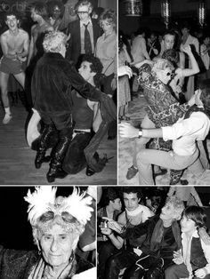 """Sally Lippman earned her moniker """"Disco Sally"""" through the wild moves she brought to the dance floor at Studio 54. She was a sweetheart, an absolute trip, and I adored her. In the upper left photo, 78-year-old Sally gets down with 26-year-old John Touzos — the two were later married at Magique nightclub! Sally was the basis for the insipid character 'Disco Dottie' in the film 54. And no, the real Sally did not die on the dance floor. She died in 1982, a year after Studio 54 closed its doors."""