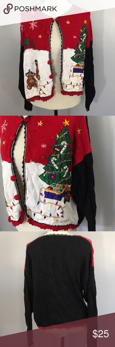 Vintage Very Ugly Christmas Sweater Size Large Mixture of black, red, and white with Christmas trees, bears, and lights galore. It can button all the way down. Perfect for an Ugly Christmas Sweater party. Nutcracker Sweaters Cardigans