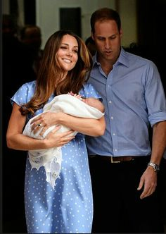 Coming home from hospital with the new Prince George with his mother and father.