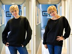 Just cutting a larger neckline makes this men's sweatshirt so much more flattering! | diy no sew shirtshirt ideas, mom style, cutoff sweatshirt