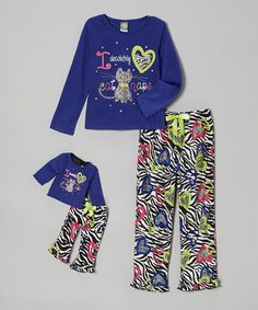 Take a look at this Royal 'Catnap' Pajama Set & Doll Outfit - Girls by Dollie & Me on #zulily today!