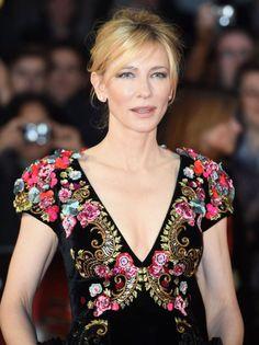 Cate Blanchett in luxuriously elegant velvet Schiaparelli couture dress.