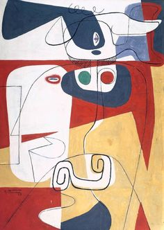 Perfectly Chaotic Taureau III (Bull III) - Le Corbusier 1953 Oil paint on canvas Red Violin, Le Corbusier, 1920 Painted in Atlas Chandigarh, India, in The first version of this. Le Corbusier, Paul Klee, Cap Martin, Maurice Utrillo, Grafik Design, Art Plastique, Oeuvre D'art, Les Oeuvres, Painting & Drawing