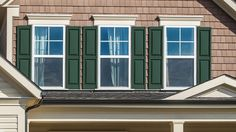 Our shutters come in a wide selection of colors to complement any home. This Forest Green shade is lovely on natural-toned siding. Vinyl Window Trim, Interior Window Trim, Interior Shutters, Exterior Trim, Exterior House Colors, Contemporary Interior Design, Interior Design Tips, Vinyl Siding, Modern Farmhouse