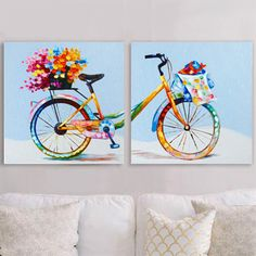 Create a captivating focal point over a sofa with this pointillism bicycle duet. Colorful dots in a rainbow of hues come together to form this contemporary hand painted artwork.