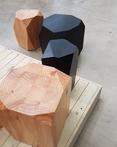 Des tabourets en bois géométriques #avecdubois