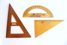 Vintage Wood Protractor Drafting Tool Chalkboard Set Industrial Decor.  via Etsy.