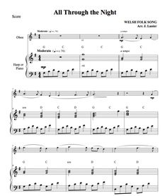 All Through the Night for Wind Instrument and Harp or Piano Oboe, Clarinet, English Horn, Piano Parts, Free Sheet Music, Harp, Flute, Instruments, Night