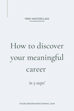 Ready to build your dream career? It's exciting to start the journey to finding the right career for you and I understand that choosing the right career for you can often feel confusing. That's why, in this free masterclass, I will be giving you the 5 steps to find the right career for you! #careeradvice #freecareeradvice #careercoach #careertips #career