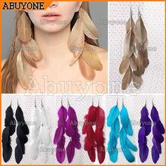 New Fashion Charming Long Feather Drop Dangle Earrings