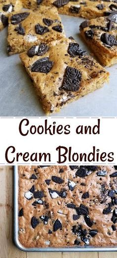 A nice big batch of brown sugary cookies and cream blondies is the perfect way to feed a crowd. Bring them to your next potluck, BBQ or party and watch them disappear. #dessert #bars #recipe