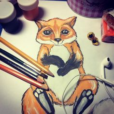 ✏️ Sketch. soon...Эскиз. Скоро...#sketch #soon #Fox #orange #art #drawing #paints #pencils #eyes #cute #эскиз #лис #лиса #лисенок #оранжевый #рыжий #рисунок #краски #карандаши #гуашь #глаза #кариеглаза