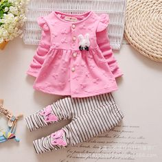 ViGarBear Fashion 2018 Baby Set Dot Cotton Baby Girl Clothes Kids Clothing Set Girl (Pants+T-shirt) Christmas For Baby Suit . Outfits Niños, Cute Baby Girl Outfits, Cute Baby Clothes, Kids Outfits, Summer Clothes, White Outfits, Baby Girl Pajamas, Baby Girl Pants, Girls Pants