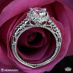 New 2014 Engagement Rings | Verragio Beaded Shared-Prong Halo Diamond Engagement Ring | 2014
