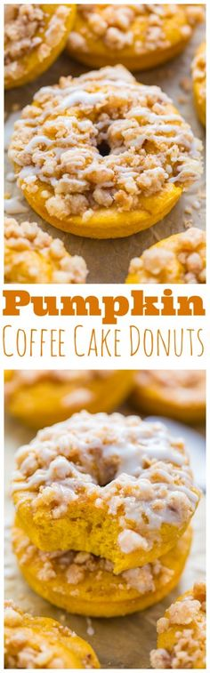 Pumpkin Coffee Cake Donuts are the ultimate Fall treat! Baked, not fried, and ready in less than 30 minutes!!!