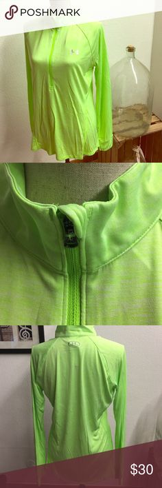 Lime green UA running shirt Size Large lime green fitted running shirt. 3/4 front zipper Under Armour Tops Sweatshirts & Hoodies