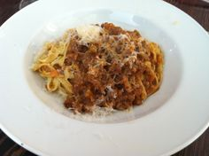From Encoteca Restaurant in Oakland, CA. Tagliatelle al ragù - House-made pasta with 4 hour Marin Sun Farms pork and beef ragù.